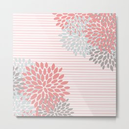Floral Prints and Colorful Stripes, Coral and Gray, Colour Prints Metal Print