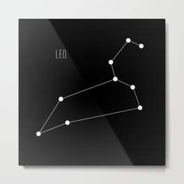 Zodiac: Leo (Black) Metal Print
