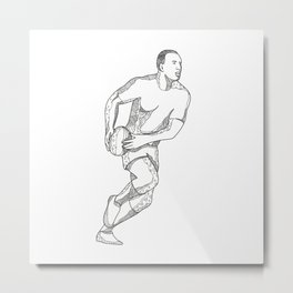 Rugby Player Passing Ball Doodle Art Metal Print