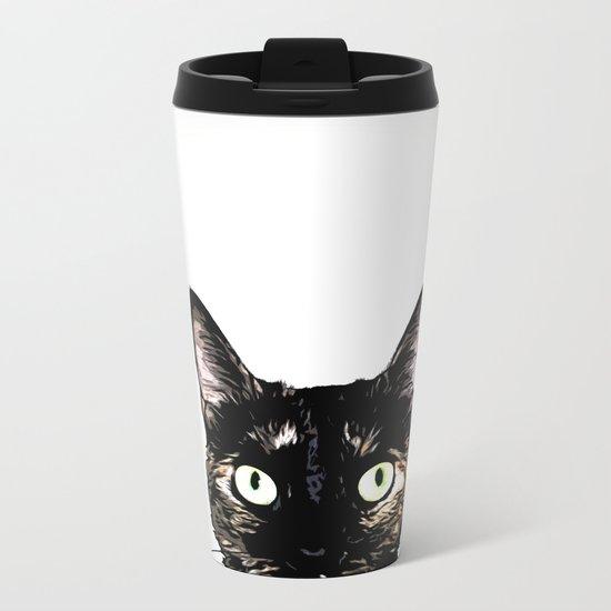 Peeking Cat Metal Travel Mug