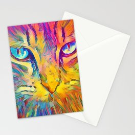 Neon Rainbow Cat Stationery Cards
