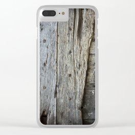 Old rustic wooden door Clear iPhone Case