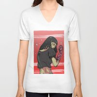 cyberpunk V-neck T-shirts featuring Ready to rumble - Cyberpunk girl by Printableink