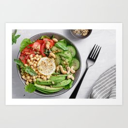 Top view of a healthy vegan lunch bowl Art Print