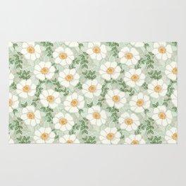 Sage pastel white green flowers blossom garden summer spring nature pattern painting florals Rug
