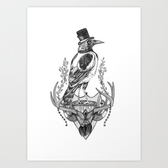 Mr. Magpie Art Print