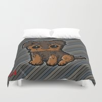 caleb troy Duvet Covers featuring Troy - Silky Terrier by Sylvester Pyke