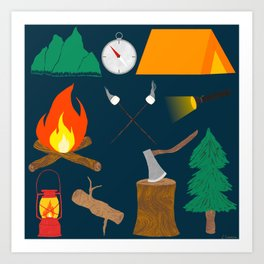 Let's Explore The Great Outdoors - Dark Blue Art Print