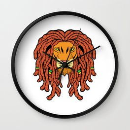Unique Ganja Animal Design With A Cool Illustration Of A Lion King T-shirt Design Jungle Wild Animal Wall Clock