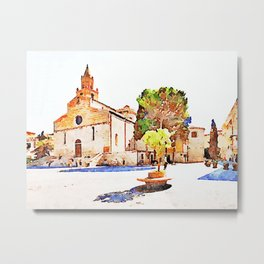 Teramo: cathedral square with trees Metal Print