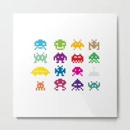 Space Invader White Metal Print