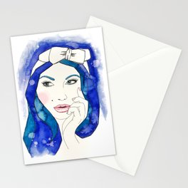 Blue Hair Don't Care Stationery Cards