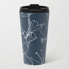 Drawings from Stonecrop Garden, Pattern in Navy Metal Travel Mug