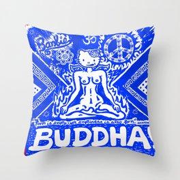 Buddha Kitty Throw Pillow