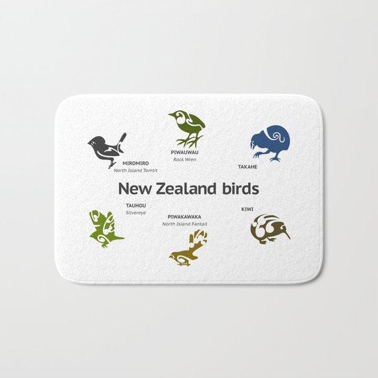 New Zealand Birds Bath Mat