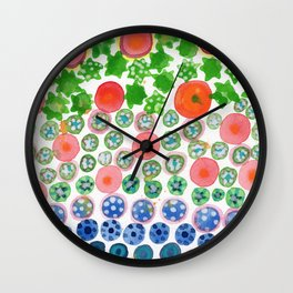 Playful Green Stars and Colorful Circles Pattern Wall Clock