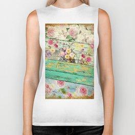 Villa Rosa Shabby Roses and Wood Biker Tank