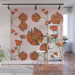 Peacock poppy pink Wall Mural