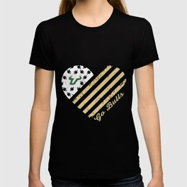 South Florida Bulls Football Flag Heart love scocer sport healthy football T-shirt