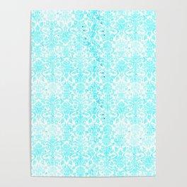 Aqua Blue Damask Poster