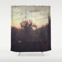 calendar Shower Curtains featuring Calendar House Apple Orchard  by Louisa Corbett
