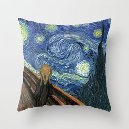 The Scream Starry Night Edvard Munch Vincent Van Gogh Throw Pillow