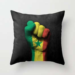 Senegal Flag on a Raised Clenched Fist Throw Pillow