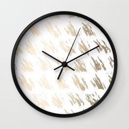 Luxe Gold Brush Polka Splotch on White Wall Clock