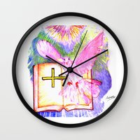 bible Wall Clocks featuring THE HOLY BIBLE by KEVIN CURTIS BARR'S ART OF FAMOUS FACES