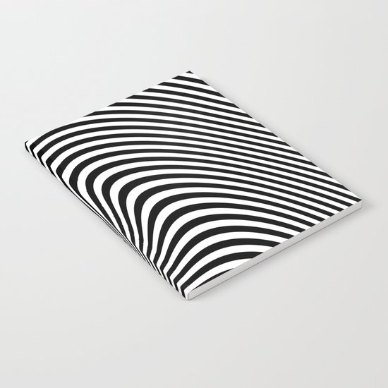 Black and White Pop Art optical illusion lines Notebook