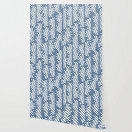 Leaves abstract in blue Wallpaper