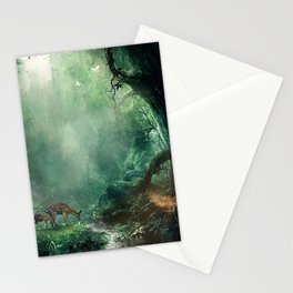 Gorgeous Gracious Deer Mother And Kid Grazing In Magical Forest Clearing Ultra HD Stationery Cards
