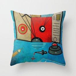 Cat, Art & Ink Throw Pillow