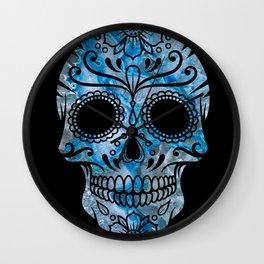 Blue Lace Sugar Skull Wall Clock
