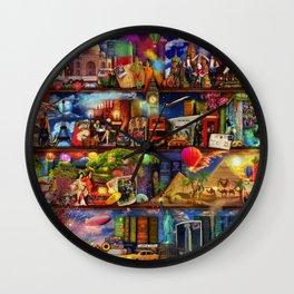 World Travel Book Shelf Wall Clock