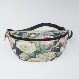 Country chic navy blue pink ivory watercolor floral Fanny Pack