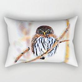 Winter Owl Watercolor Rectangular Pillow