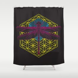 Dragonfly Flower of Life Shower Curtain