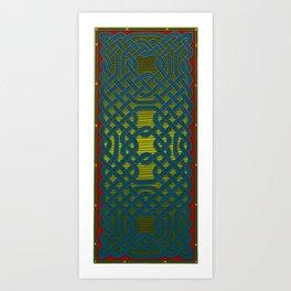 Celtic Knotwork Panel in Delft Blue Art Print