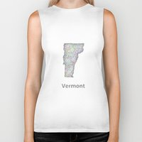 vermont Biker Tanks featuring Vermont map by David Zydd