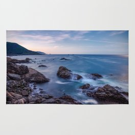 Rocky Shore - Waves Crash on Rocks Along Coast at Big Sur Rug