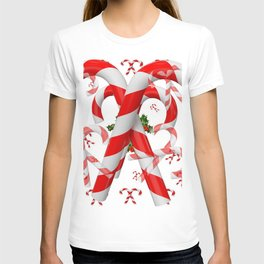 FESTIVE ART RED-WHITE CHRISTMAS CANDY CANES HOLLY BERRIES T-shirt