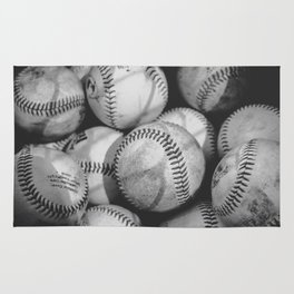 Baseballs in Black and White Rug