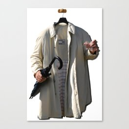 Raincoat of an invisible man with umbrella and watter glass Canvas Print