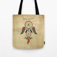 dream catcher Tote Bags featuring DREAM CATCHER by Heaven7