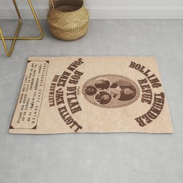 Vintage 1975 Bob Dylan and Rolling Thunder Review Flyer - Poster Providence Concert Rug