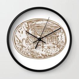 Log Cabin Farm House Oval Etching Wall Clock