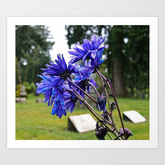 Blue cemetery flowers Art Print