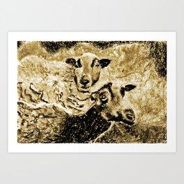 Two Ewes at Sunset Vintage Look Art Print