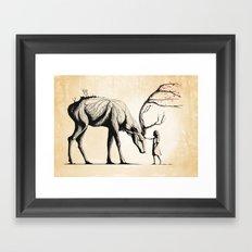 Knowing the Deer Tree Framed Art Print